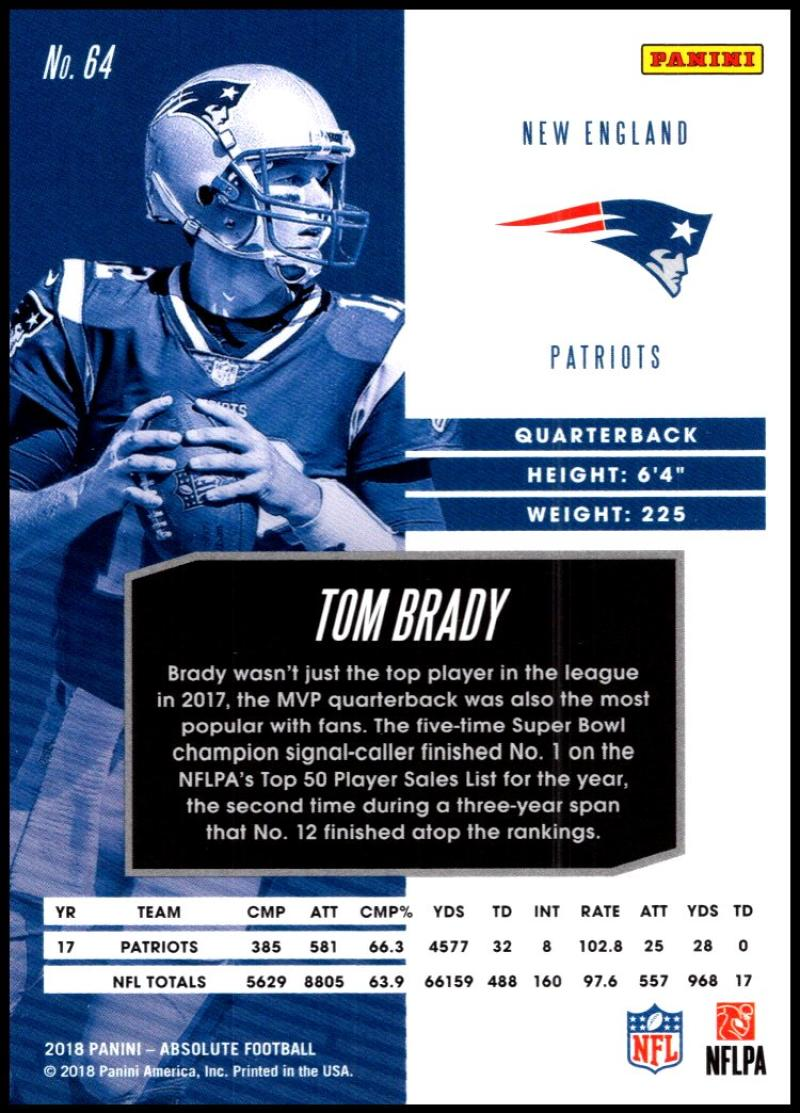 2018 Panini Absolute Spectrum Gold  64 Tom Brady. New England Patriots.  Front image Front image bd3ef6954