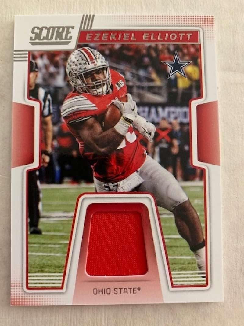 2019 Score Collegiate Jerseys CJ-7 Ezekiel Elliott Swatch Ohio State Buckeyes  Official NFL Panini Football Memorabilia Trading Card