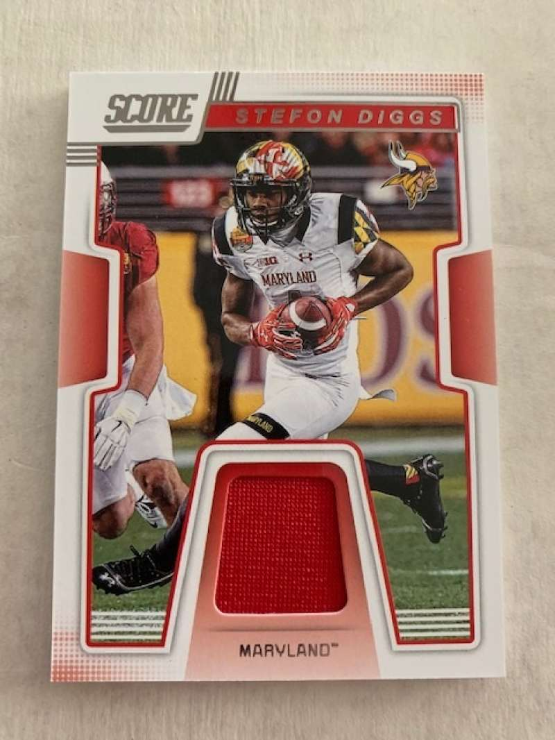 2019 Score Collegiate Jerseys CJ-15 Stefon Diggs Swatch Maryland Terrapins  Official NFL Panini Football Memorabilia Trading Card