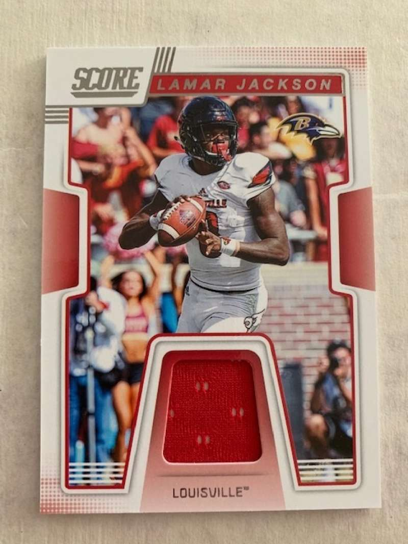 2019 Score Collegiate Jerseys CJ-16 Lamar Jackson Swatch Louisville Cardinals  Official NFL Panini Football Memorabilia Trading Card