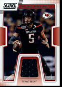 2019 Score Collegiate Jerseys CJ-4 Patrick Mahomes II Swatch Texas Tech Red Raiders  Official NFL Panini Football Memorabilia Trading Card