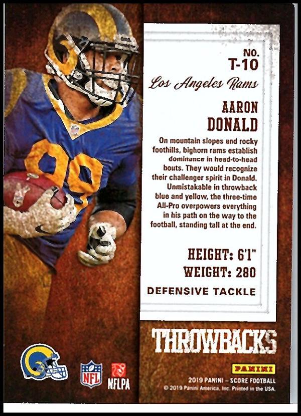 miniature 17 - 2019 Score Throwbacks NFL Football Card Singles You Pick Buy 4 Get 2 FREE