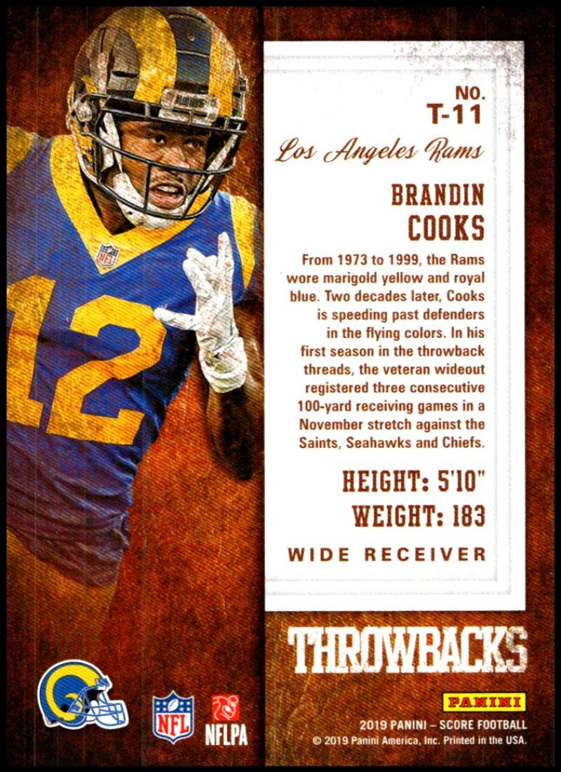 miniature 19 - 2019 Score Throwbacks NFL Football Card Singles You Pick Buy 4 Get 2 FREE