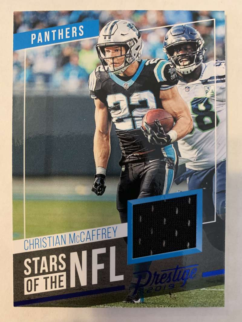 2019 Prestige Stars of the NFL Xtra Points Blue Jersey MEM #19 Christian McCaffrey Carolina Panthers  Official Panini Football Trading Card