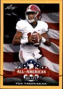 2020 Leaf Draft Gold Football #62 Tua Tagovailoa Pre-Rookie Trading Card Alabama Crimson Tide