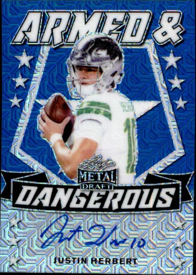 2020 Leaf Metal Draft Armed and Dangerous Autographs Mojo Blue