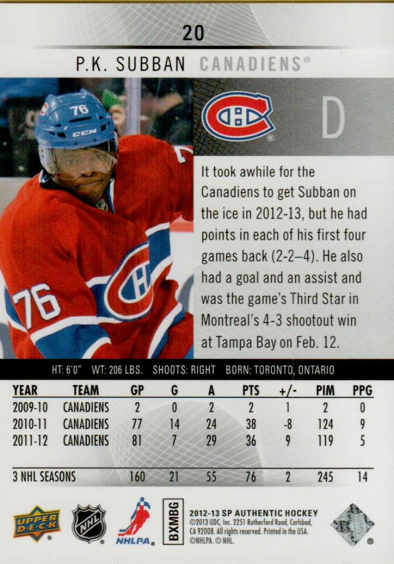 2012-13-Upper-Deck-SP-Authentic-Hockey-Card-Singles-Complete-Your-Set-You-Pick miniature 10