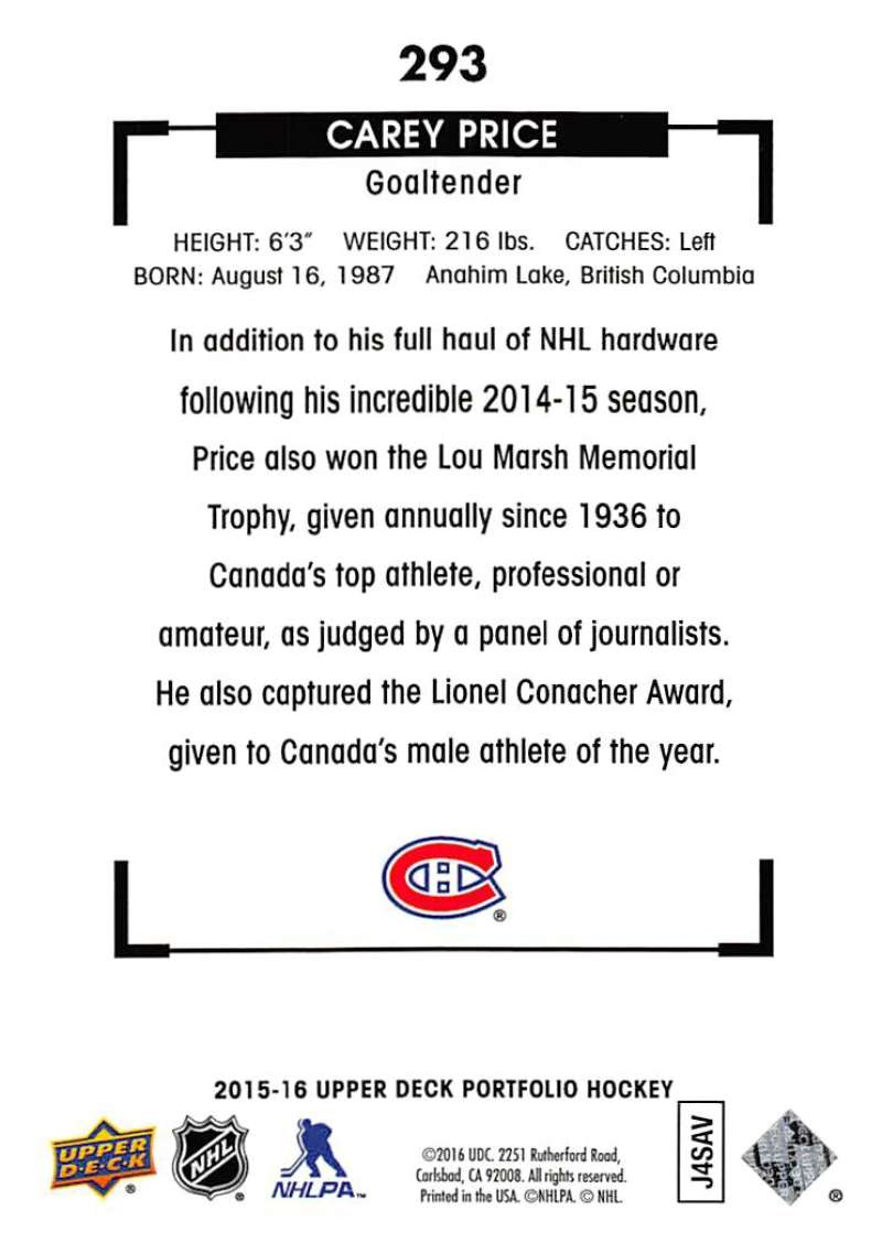 IJshockey Verzamelingen 2015 Upper Deck Portfolio #293 Black & White Art Carey Price Montreal Canadiens