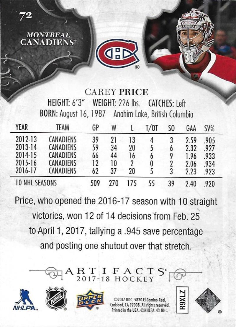 2017-18-Upper-Deck-Artifacts-Hockey-Base-Set-Cards-Choose-Card-039-s-1-100 thumbnail 130