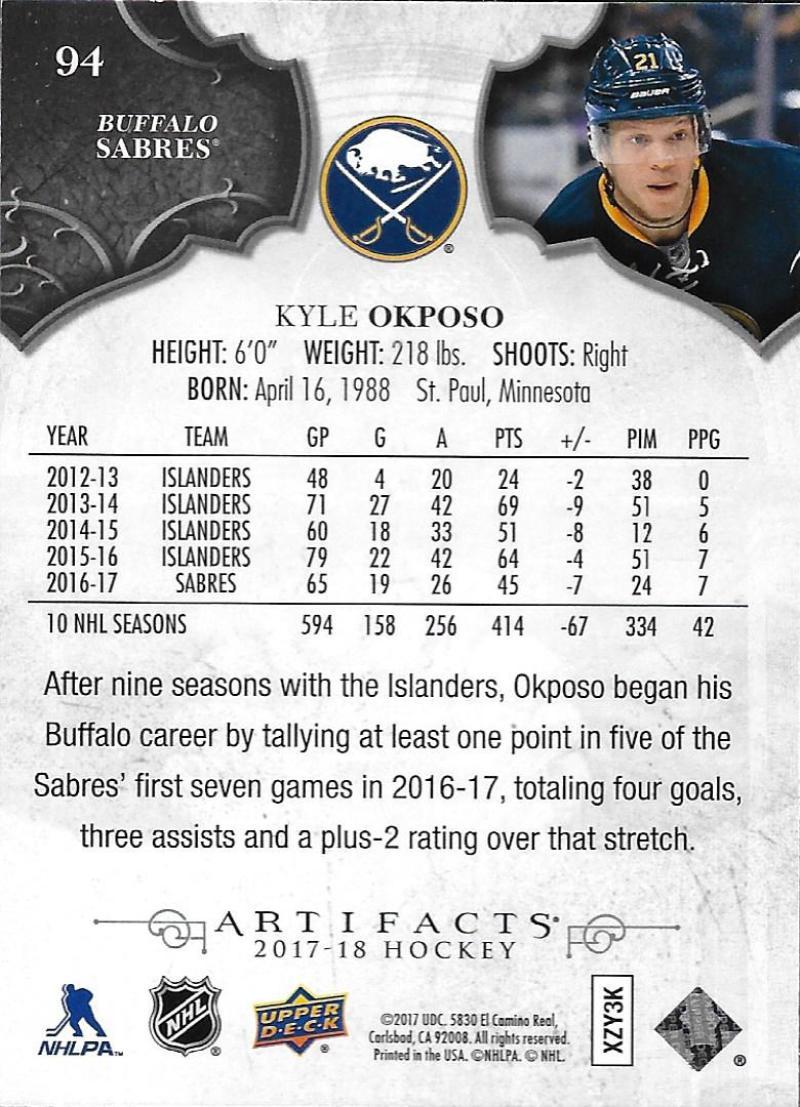 2017-18-Upper-Deck-Artifacts-Hockey-Base-Set-Cards-Choose-Card-039-s-1-100 thumbnail 174