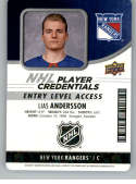 2018-19 Upper Deck MVP NHL Player Credentials Access #NHL-LA Lias Andersson Entry Level NM-MT