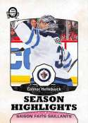 2018-19 O-Pee-Chee Retro #555 Connor Hellebuyck Winnipeg Jets  Season Highlights 18-19 Official OPC Hockey Card (made by Upper Deck)