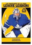2018-19 O-Pee-Chee Retro #598 Frederik Andersen Toronto Maple Leafs  League Leaders 18-19 Official OPC Hockey Card (made by Upper Deck)