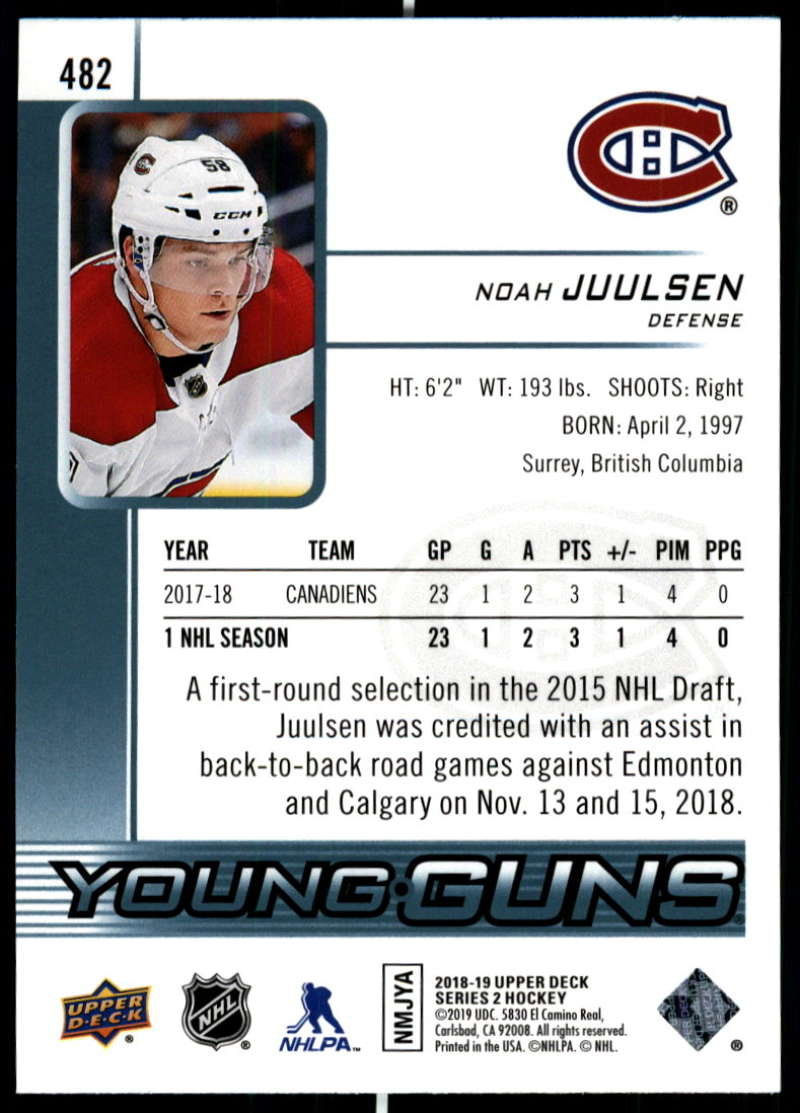 2018-19-Upper-Deck-Series-2-Young-Guns-Rookie-Cards-RC-Hockey-Singles-You-Pick miniature 37
