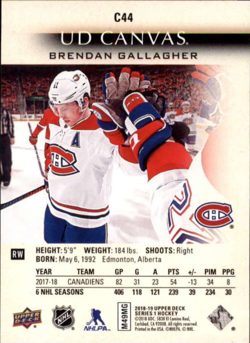 2018-19-Upper-Deck-Canvas-18-19-UD-Series-One-Hockey-Cards-Pick-From-List miniature 53