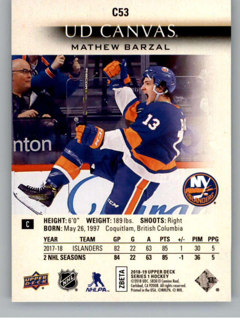2018-19-Upper-Deck-CANVAS-Hockey-Series-1-amp-2-Vets-Young-Guns-RC-Pick-Yer-Cards miniature 79