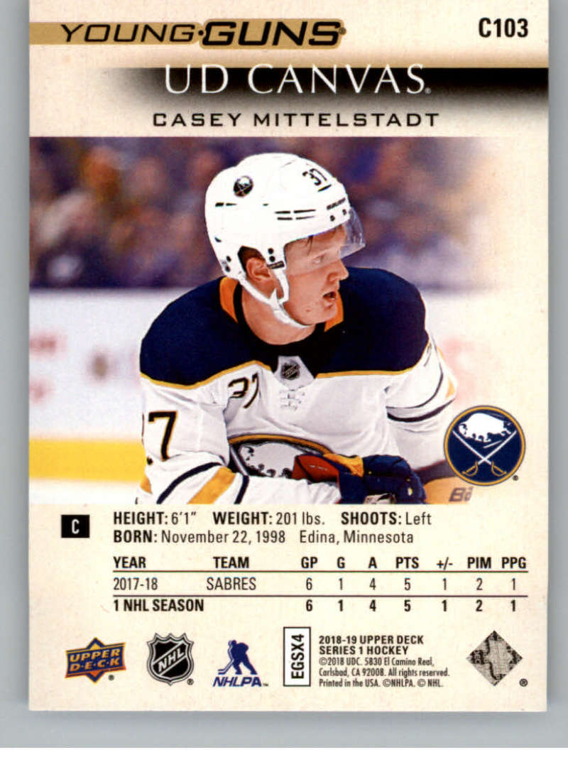 2018-19-Upper-Deck-CANVAS-Hockey-Series-1-amp-2-Vets-Young-Guns-RC-Pick-Yer-Cards miniature 137