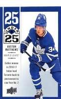 2018-19 Upper Deck 25 Under 25 Hockey #U25-25 Auston Matthews Toronto Maple Leafs Official NHL UD Trading Card