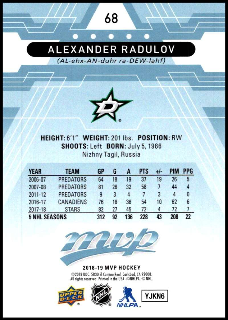 2018-19-Upper-Deck-MVP-Blue-Factory-Set-Parallels-Pick-From-List-With-Rookies miniature 137