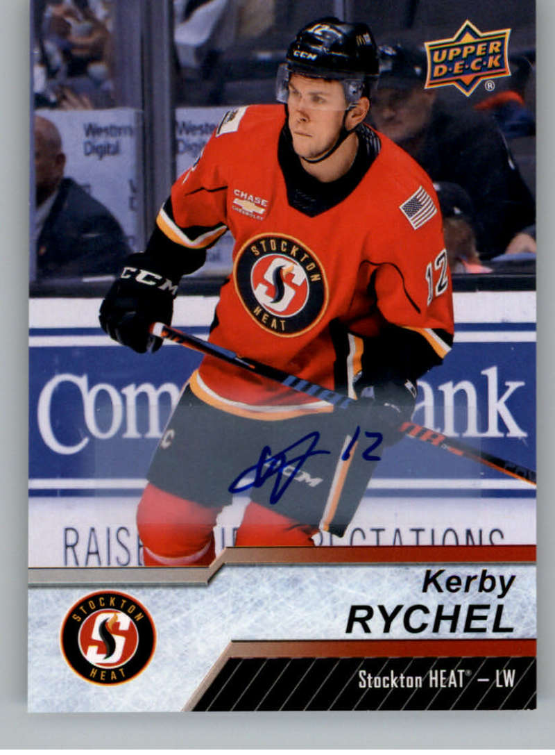 2018-19 Upper Deck AHL Autograph #15 Kerby Rychel Auto Stockton Heat  Official American Hockey League UD Trading Card