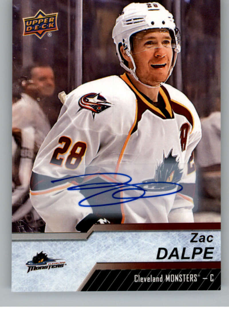 2018-19 Upper Deck AHL Autograph #33 Zac Dalpe Auto Cleveland Monsters  Official American Hockey League UD Trading Card