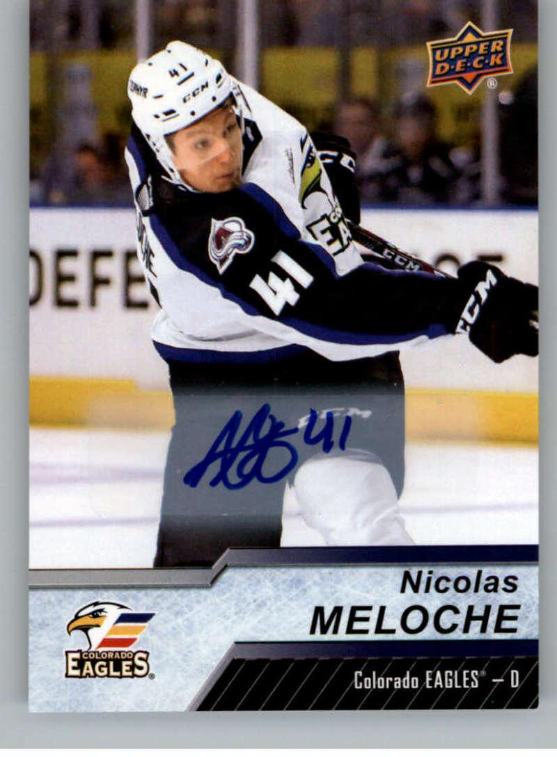 2018-19 Upper Deck AHL Autograph #52 Nicolas Meloche Auto Colorado Eagles  Official American Hockey League UD Trading Card
