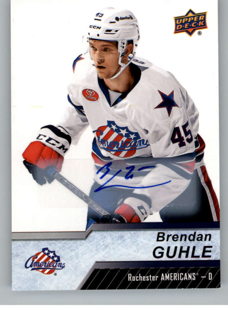 2018-19 Upper Deck AHL Autograph #72 Brendan Guhle Auto Rochester Americans  Official American Hockey League UD Trading Card