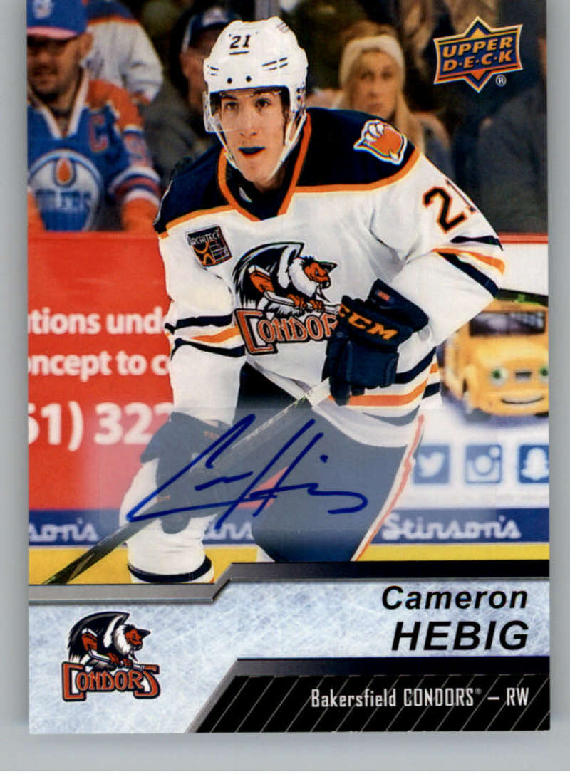 2018-19 Upper Deck AHL Autograph #97 Cameron Hebig RC Rookie Auto Bakersfield Condors  Official American Hockey League UD Trading Card