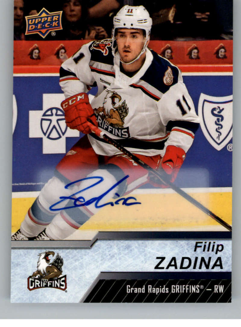 2018-19 Upper Deck AHL Autograph #119 Filip Zadina RC Rookie Auto Grand Rapids Griffins SP Short Print  Official American Hockey League UD Trading Car