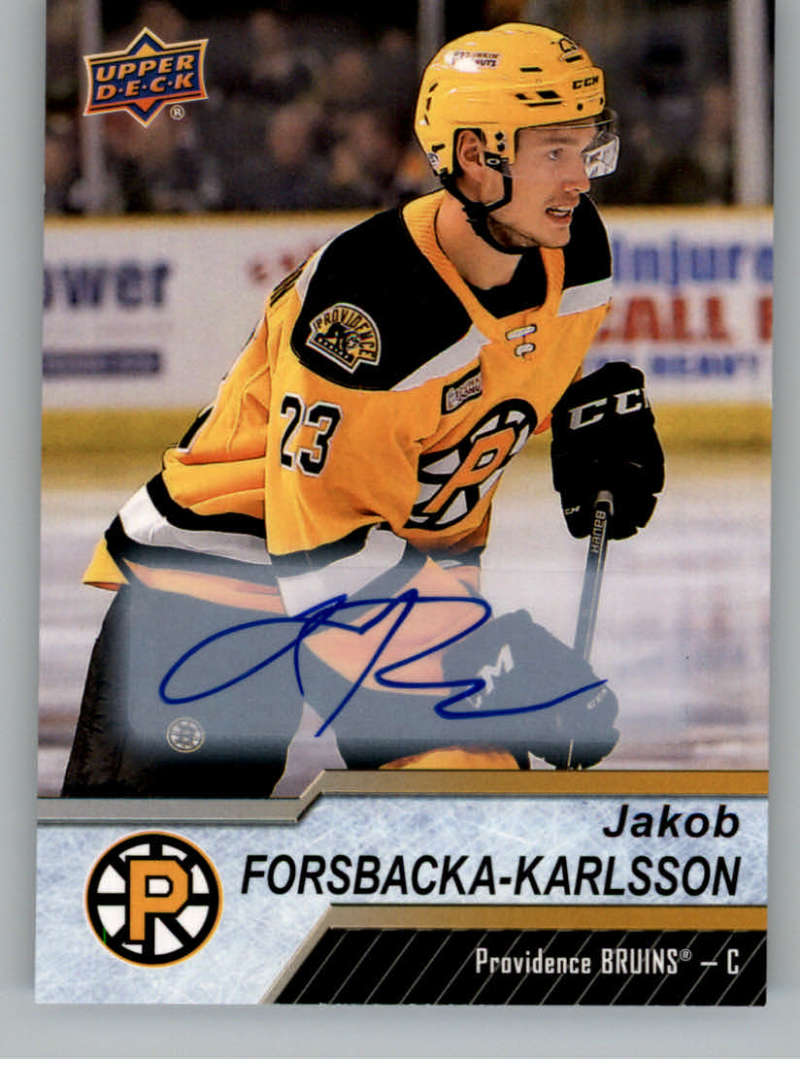 2018-19 Upper Deck AHL Autograph #125 Jakob Forsbacka-Karlsson Auto Providence Bruins SP Short Print  Official American Hockey League UD Trading Card