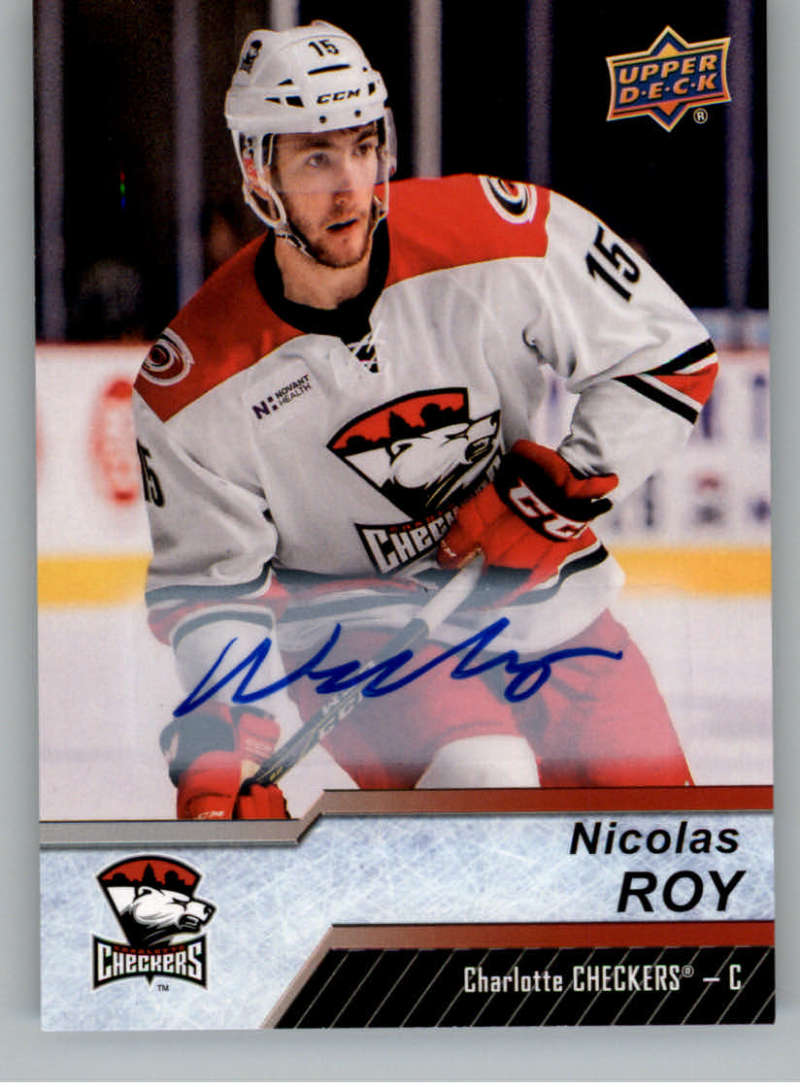 2018-19 Upper Deck AHL Autograph #129 Nicolas Roy Auto Charlotte Checkers SP Short Print  Official American Hockey League UD Trading Card