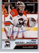 2018-19 Upper Deck AHL Autograph #12 Alex Nedeljkovic Auto Charlotte Checkers  Official American Hockey League UD Trading Card