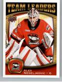 2018-19 UD AHL Hockey Team Leaders #TL-5 Alex Nedeljkovic Charlotte Checkers  Official Upper Deck American Hockey League Trading Card