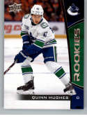 2019-20 Upper Deck NHL Rookie Box Set #14 Quinn Huges Vancouver Canucks  Official UD Hockey Trading Card