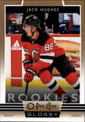 2019-20 Upper Deck OPC O-Pee-Chee Glossy Rookies Gold Parallel Hockey Series Two #R-20 Jack Hughes New Jersey Devils Off