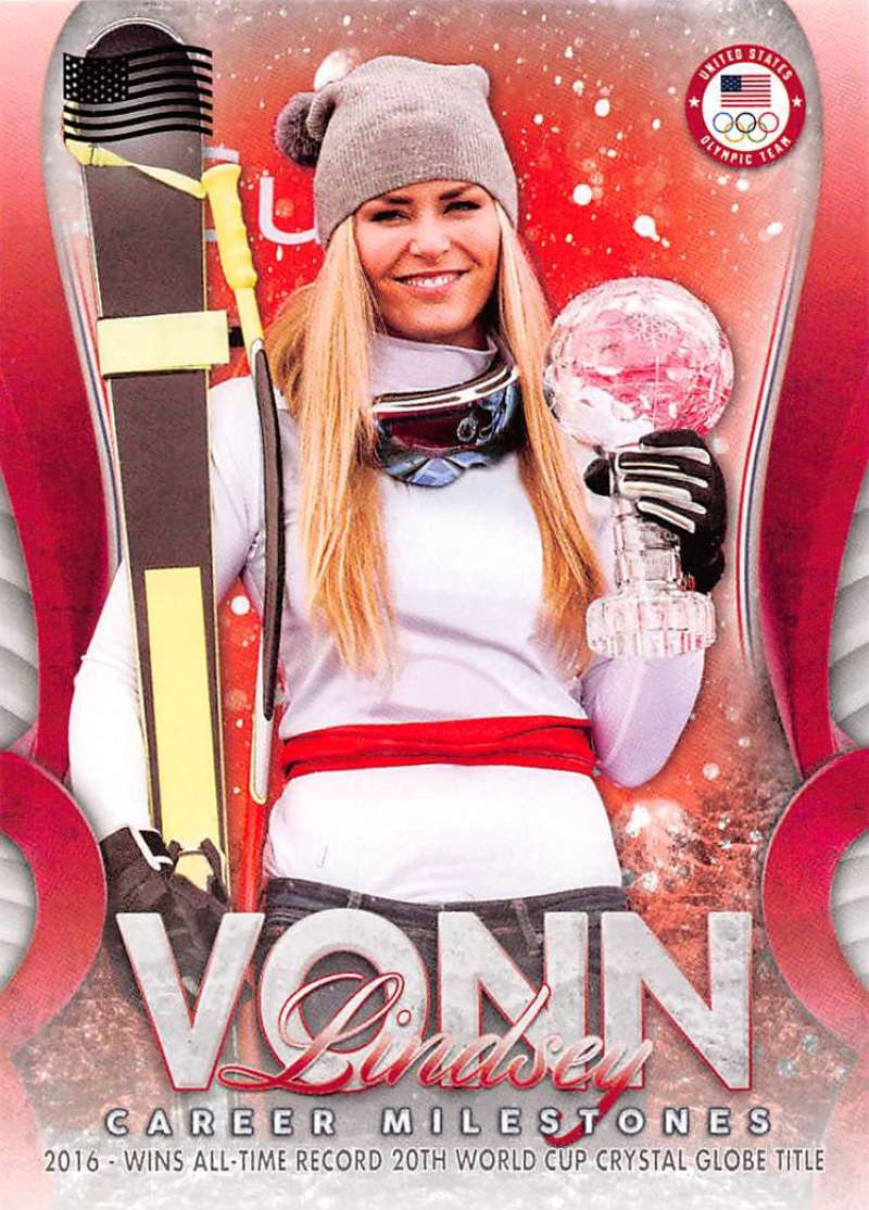 2018 Topps US Winter Olympics Lindsey Vonn Career Milestones US Flag