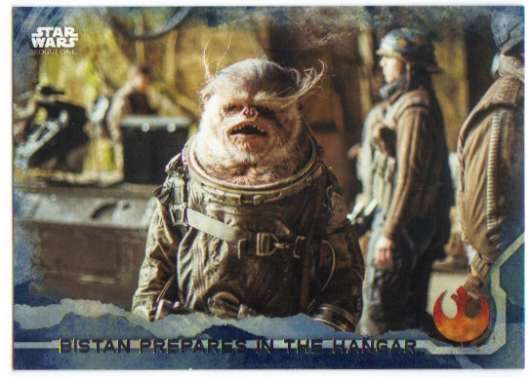 2016 Topps Star Wars Rogue One Blue Squadron #88 Bistan prepares in the hangar