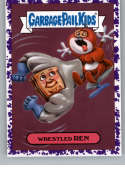 2019 Topps Garbage Pail Kids We Hate the '90s Cartoons and Comics Stickers B Jelly Purple #1 WRESTLED REN  Peelable Collectible Trading Sticker Card (
