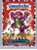 2019 Topps Garbage Pail Kids We Hate the '90s TV Stickers A Jelly Purple #17 BAD BARNEY  Peelable Collectible Trading Sticker Card (Barney)