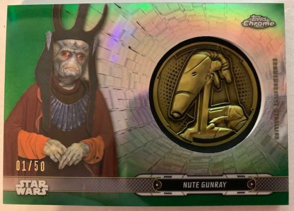 2019 Topps Chrome Star Wars Legacy Droid Commemorative Medallion Relics Refractors Green
