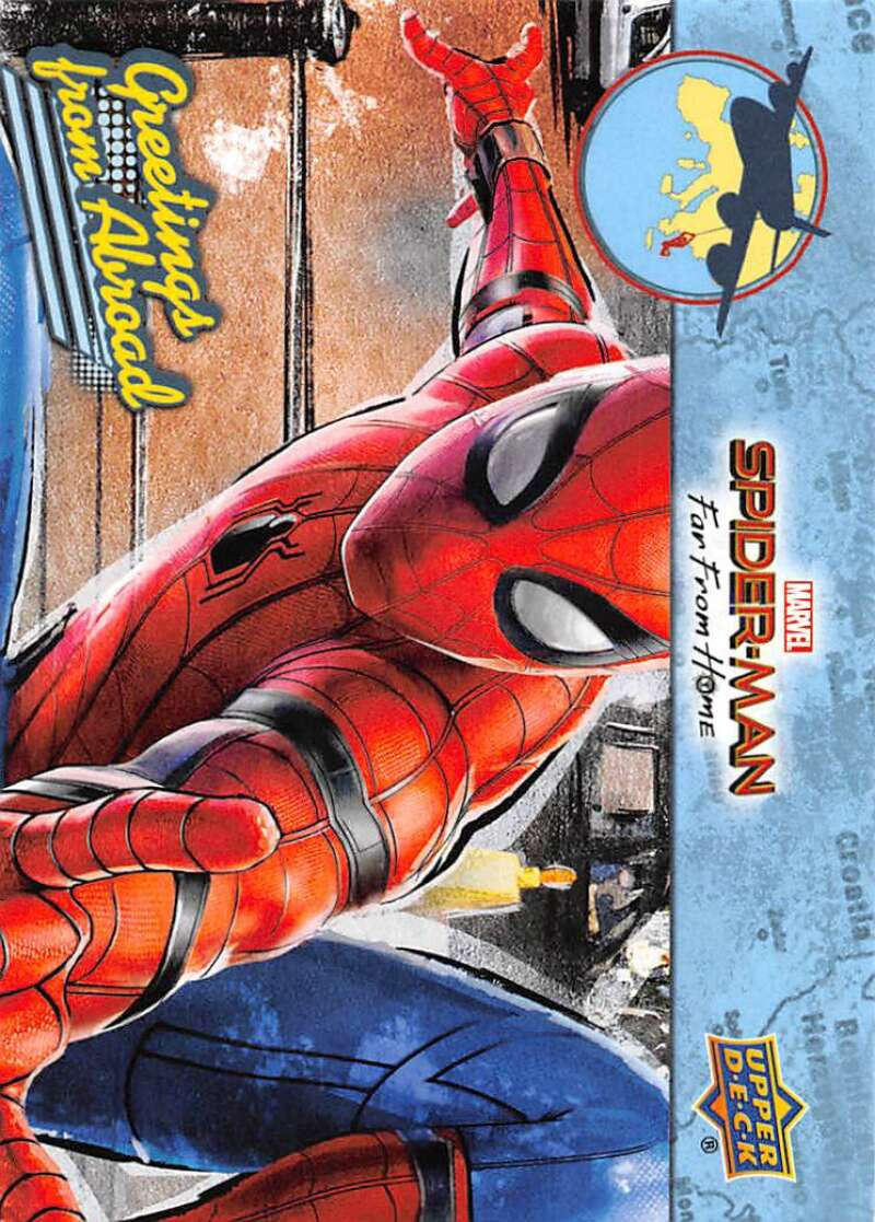 2019 Upper Deck Spider-Man Far From Home Greetings From Abroad