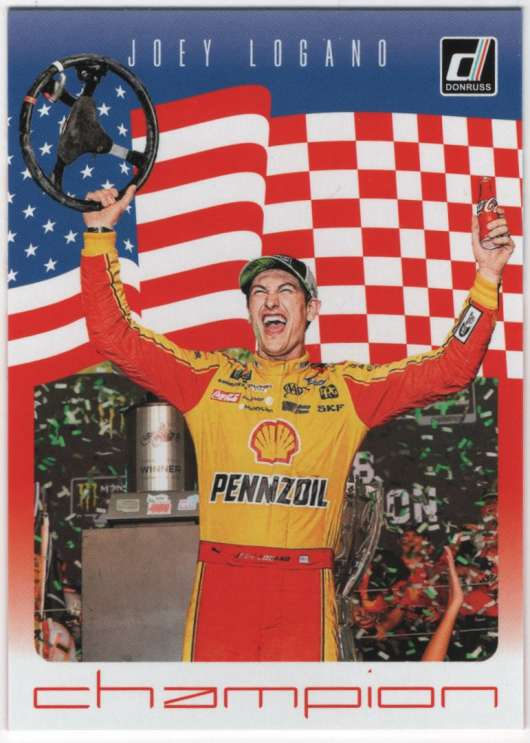 2019 Donruss Racing Champion #1 Joey Logano Shell-Pennzoil/Team Penske/Ford  Official NASCAR Trading Card