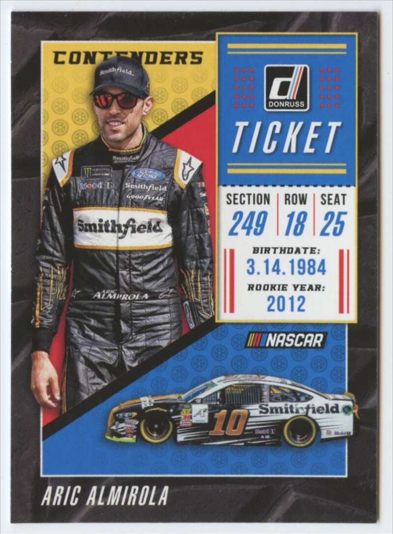 2019 Donruss Racing Contenders #6 Aric Almirola Smithfield Foods/Stewart-Haas Racing/Ford  Official NASCAR Trading Card