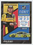 2019 Donruss Racing Contenders #12 Ryan Blaney Menards/Team Penske/Ford  Official NASCAR Trading Card