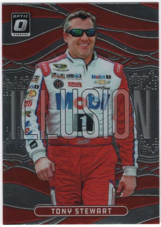 2019 Donruss Racing Optic Illusion #8 Tony Stewart Mobil 1/Stewart-Haas Racing/Chevrolet  Official NASCAR Trading Card