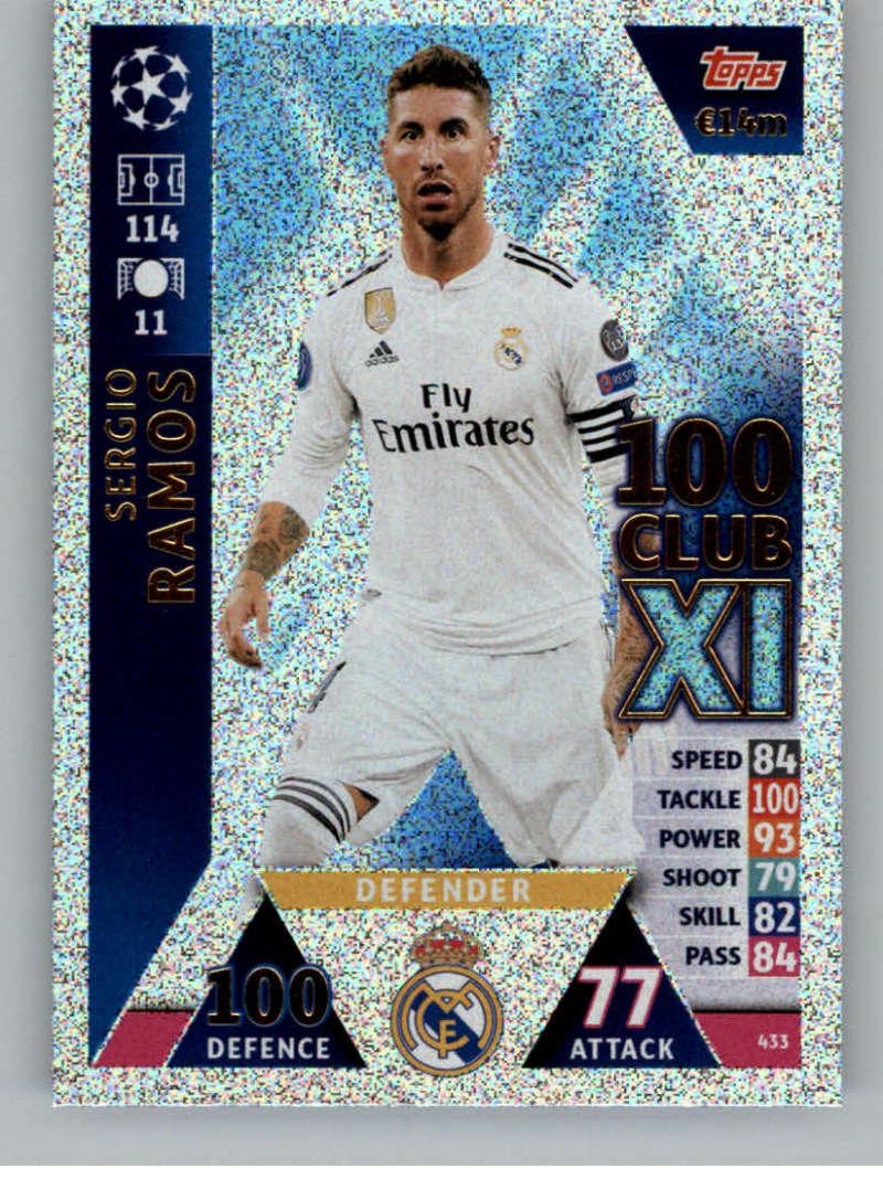 2018-19 Topps UEFA Champions League Match Attax #433 Sergio Ramos 100 Club XI NM-MT+