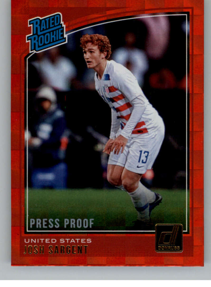 744feed86 2018-19 Donruss Press Proof Red Soccer  200 Josh Sargent United States  Rated Rookie Official Panini Soccer 2018-2019 Futbol RC Card