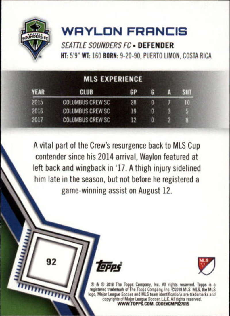 2018-Topps-MLS-Soccer-Base-Set-Cards-Choose-From-Card-039-s-1-200 thumbnail 184