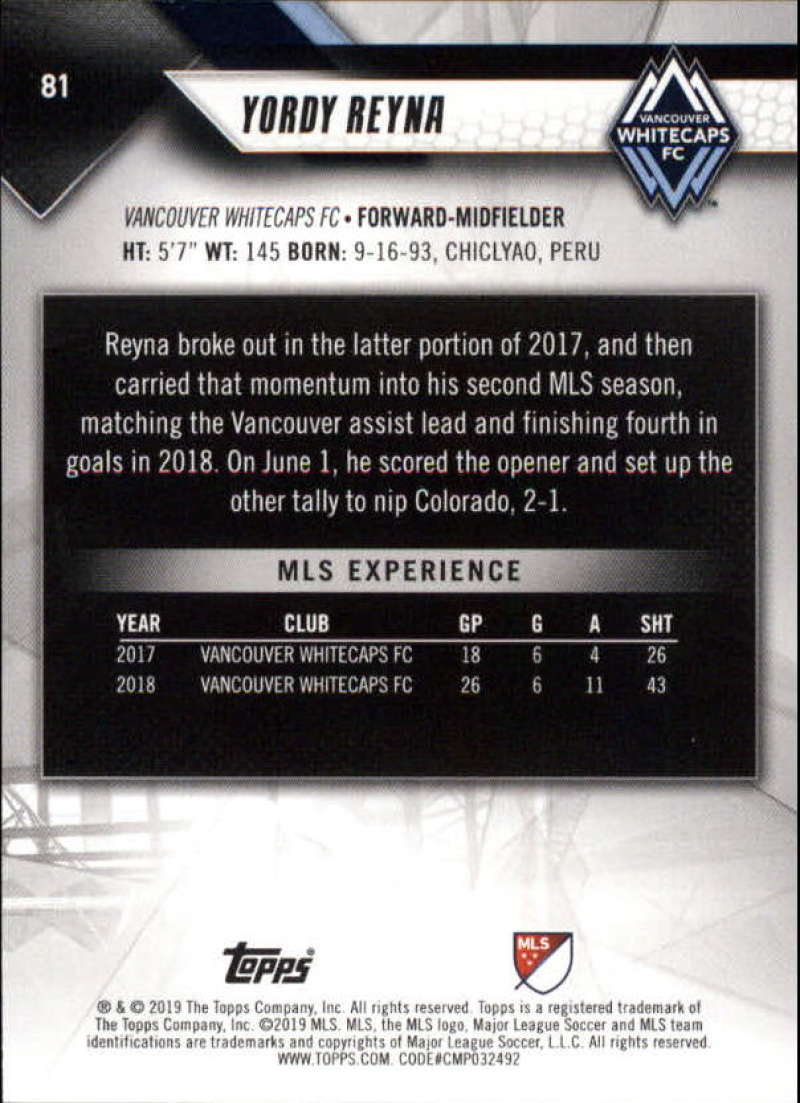 2019-Topps-MLS-Soccer-Base-Set-Cards-Choose-From-Card-039-s-1-200 thumbnail 163