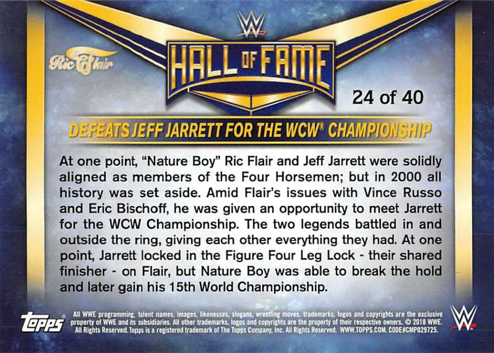 Lot-2018-Topps-Heritage-WWE-Ric-Flair-Hall-of-Fame-Tribute-Part-3-Pick-Cards thumbnail 7
